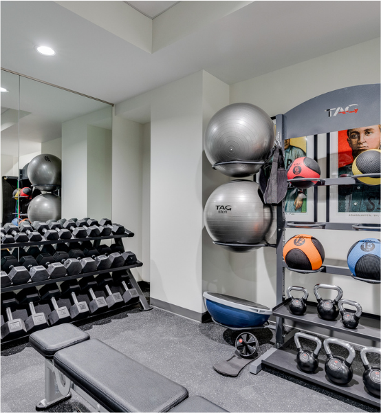 the apartment gym